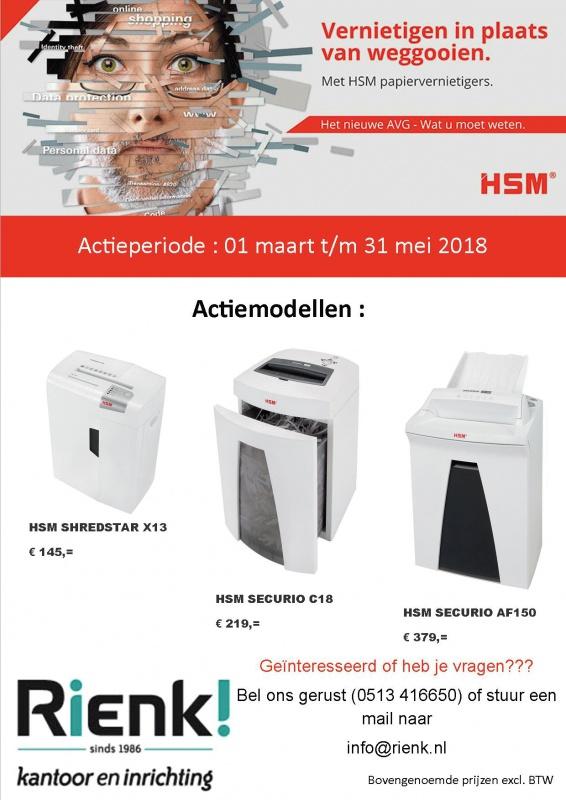 Actie HSM papiervernietigers